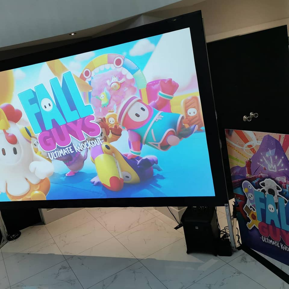 Large screen for children's birthday party