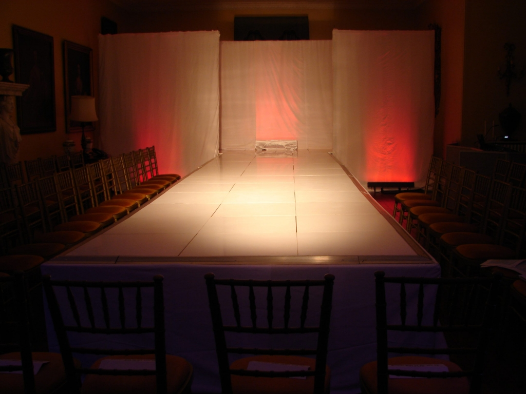 Stage set for fashion show with lighting