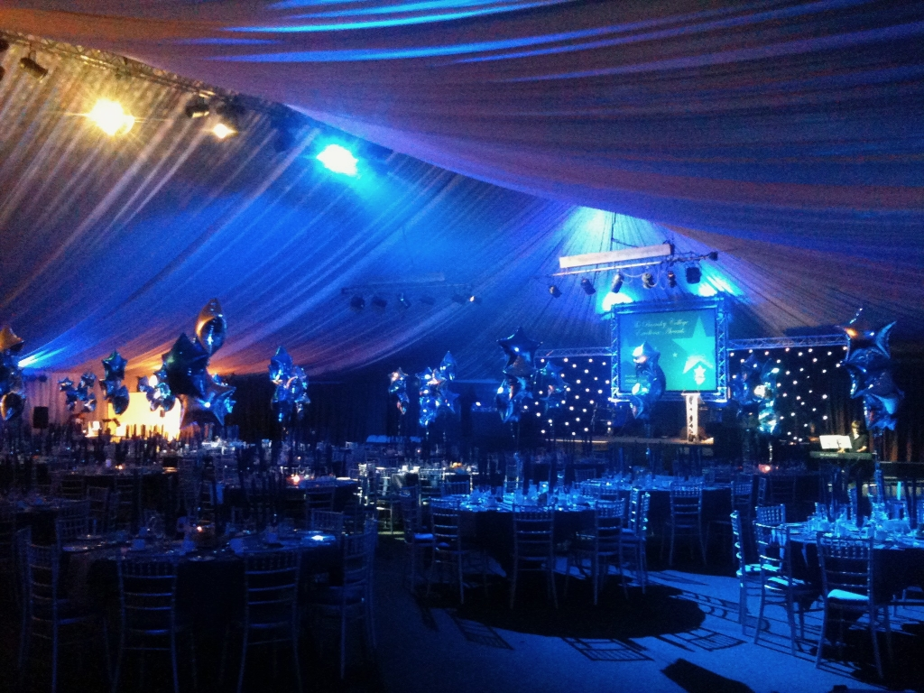 Event lighting, stage, screen and sound system