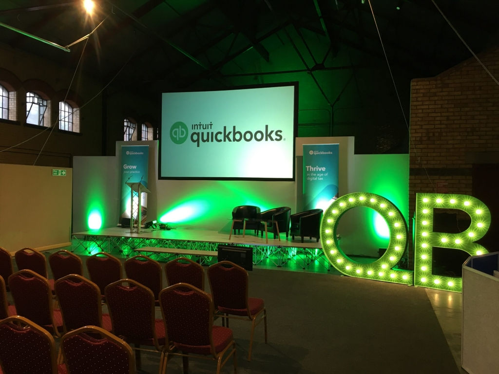 Stage Set including screens and backdrops with sound and lighting for quickbooks conference