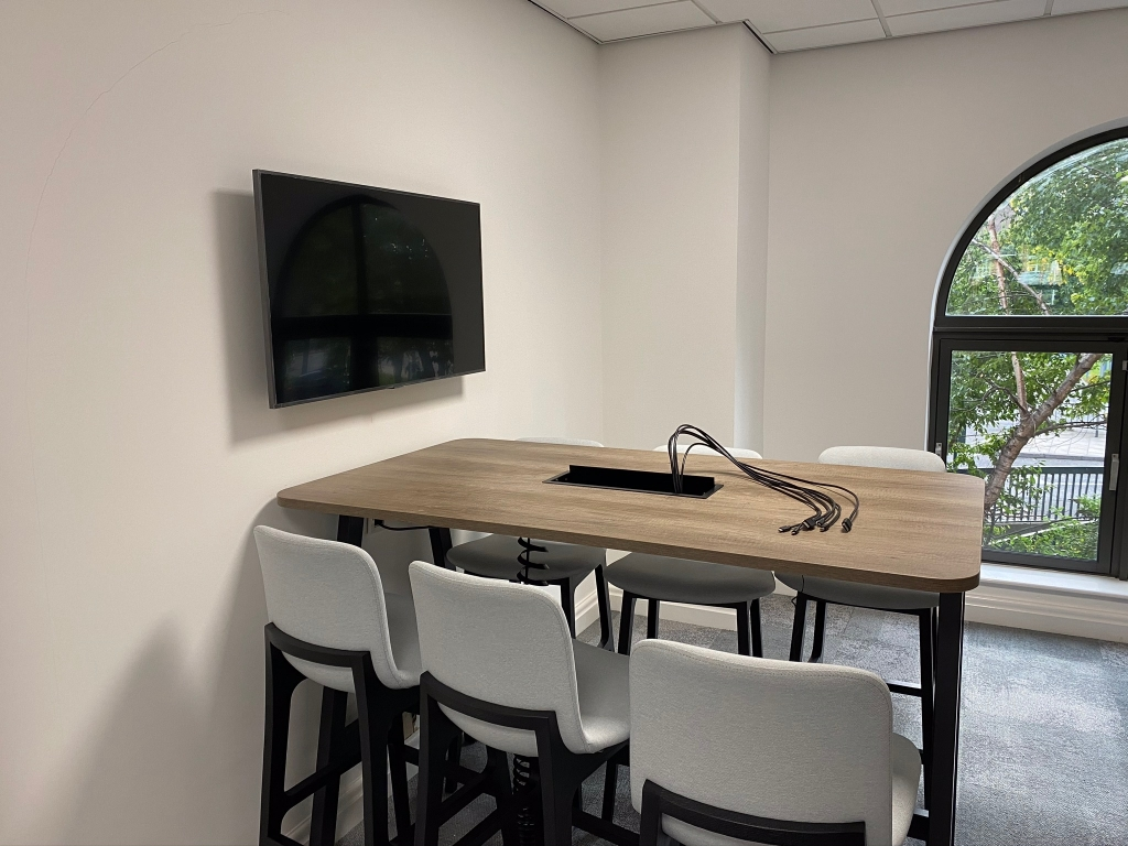 Small meeting room screen installation