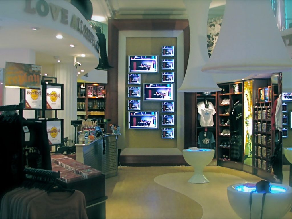 Display screens on a retail shop wall