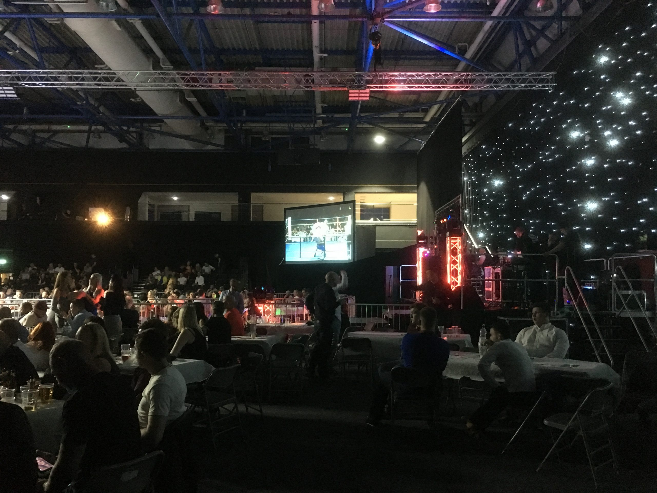 Boxing event on large fast fold screen at the Metrodome