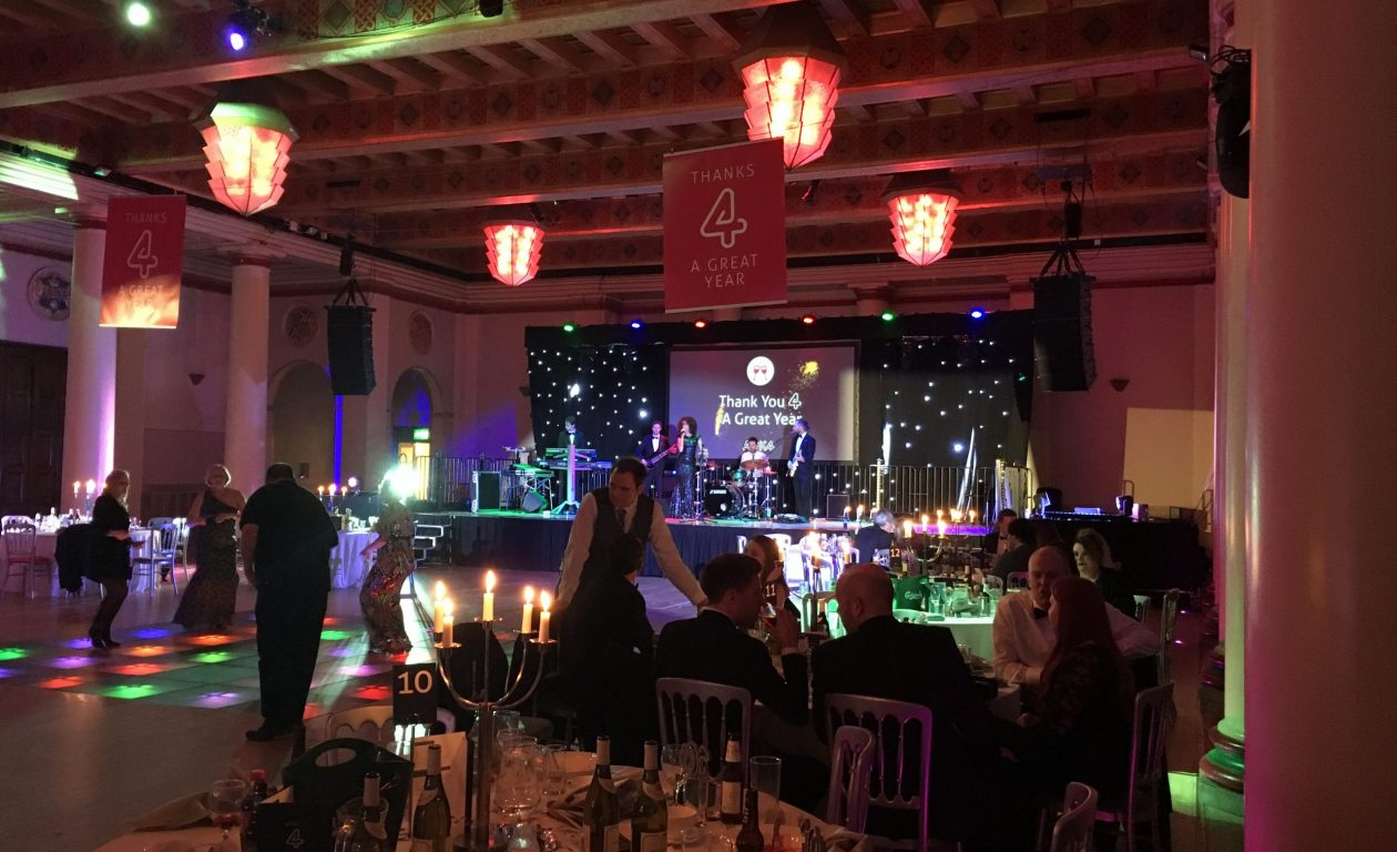 Stage Set, Star Cloth, Projector Screen, Sound System and Lighting for an annual gala dinner