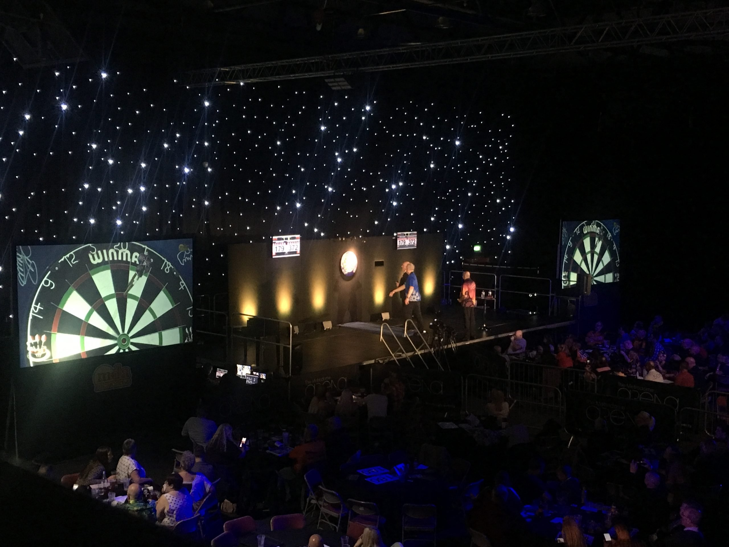 Darts at the Metrodome on large projection screens with lighting