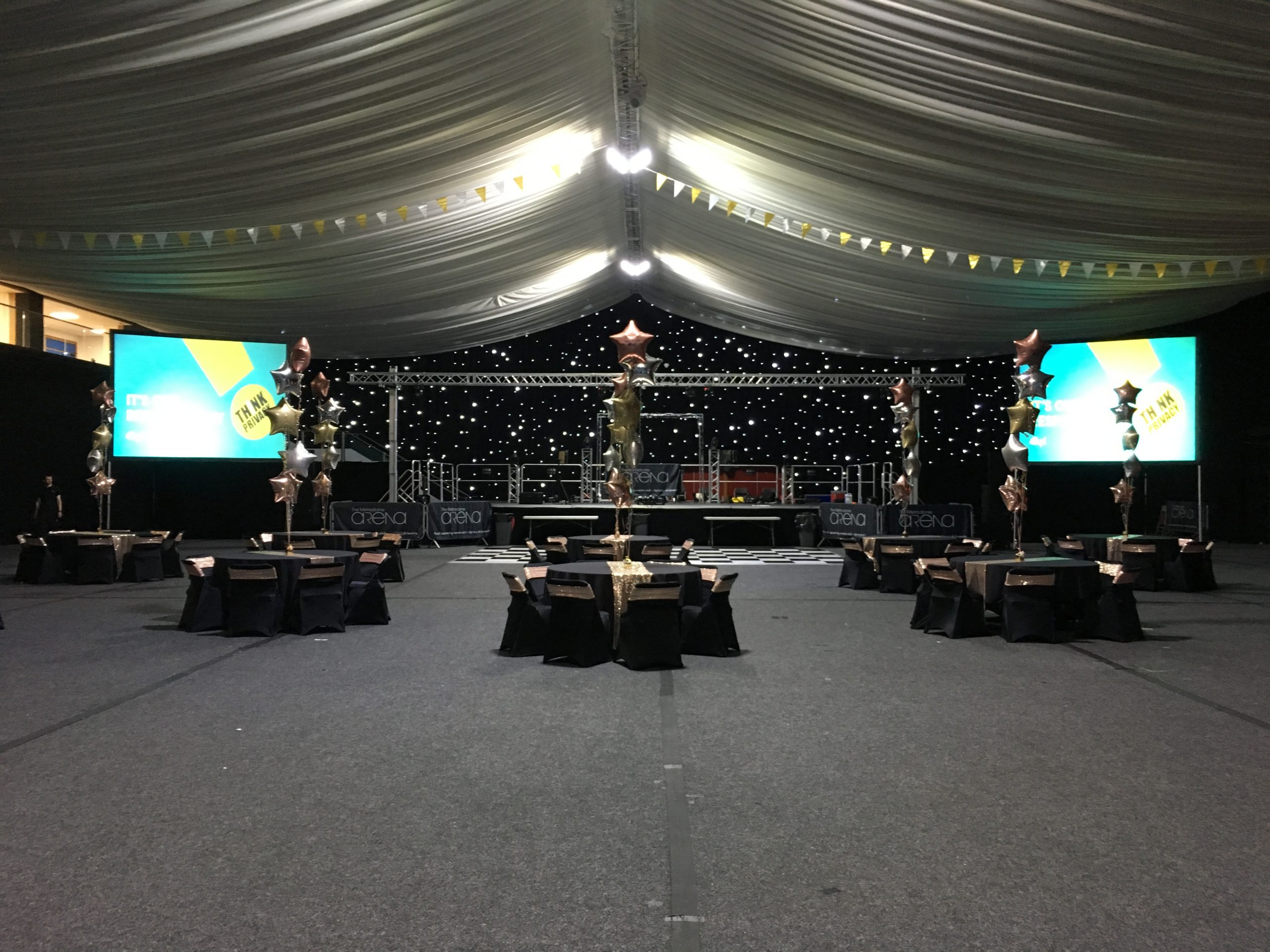 Celebration event with lighting and projectors