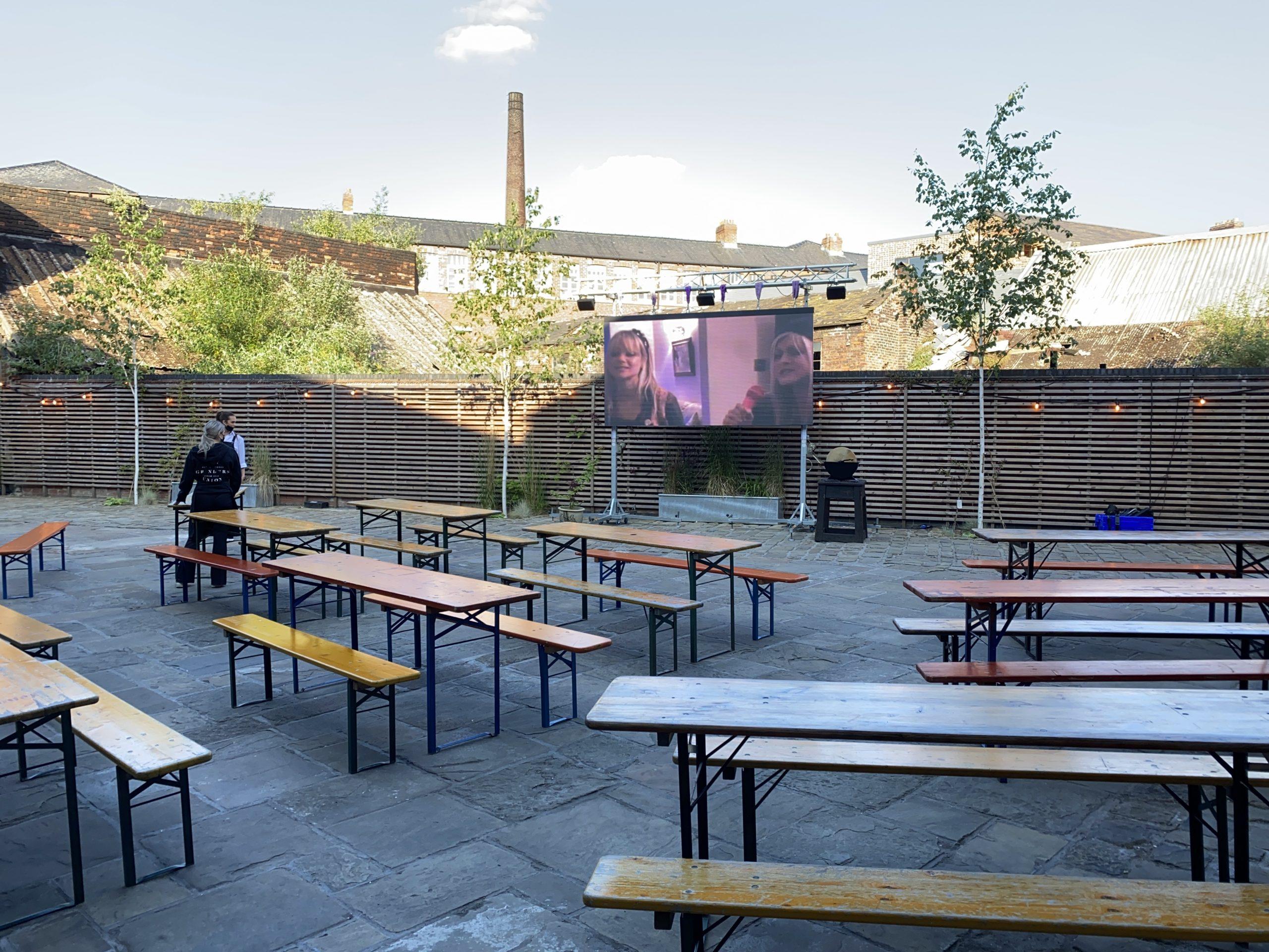 LED Screen in venue courtyard